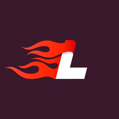 Fast fire letter L logo on dark.
