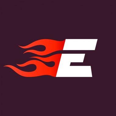 Fast fire letter E logo on dark.