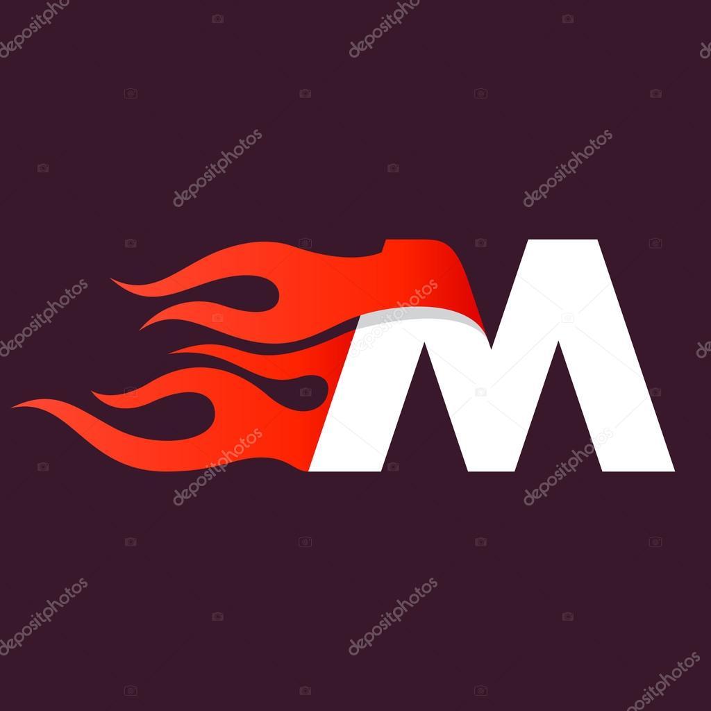 Fast Fire Letter M Logo On Dark Stock Vector