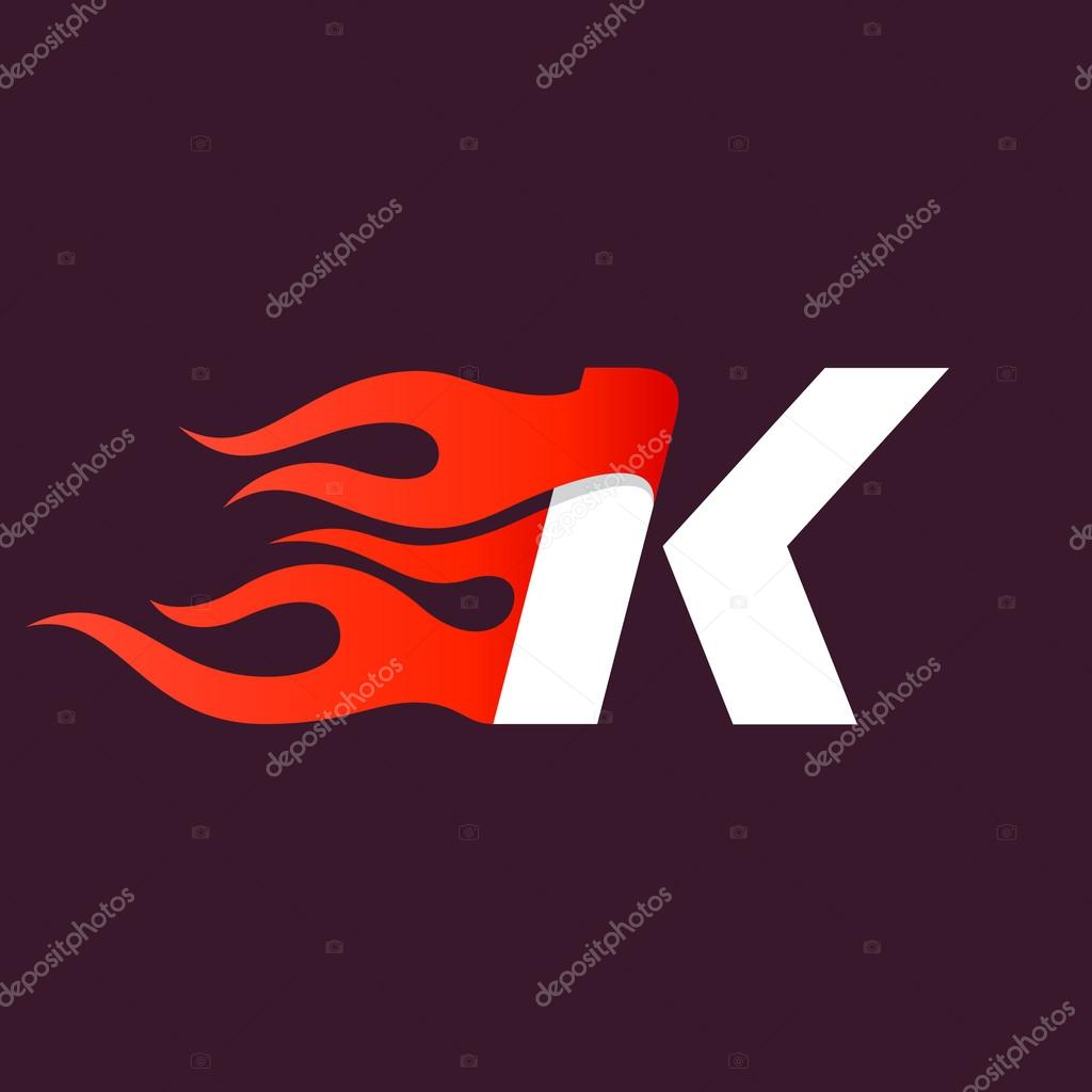 Fast fire letter K log...K Logo In Fire