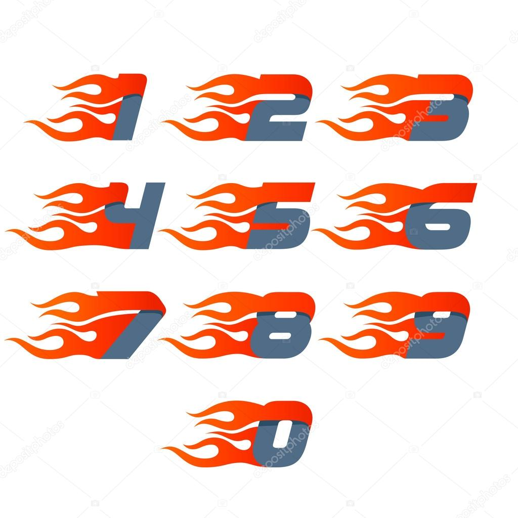 fast fire numbers set logos speed and sport icon stock vector