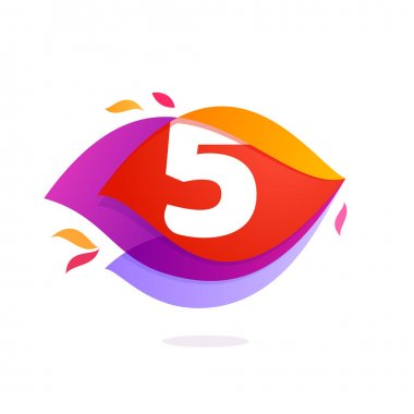 Number five logo in flame intersection icon.