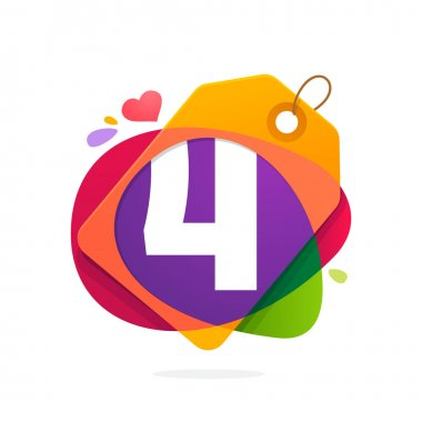 Number four logo in Sale tag, heart and splashes.