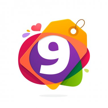 Number nine logo in Sale tag, heart and splashes.