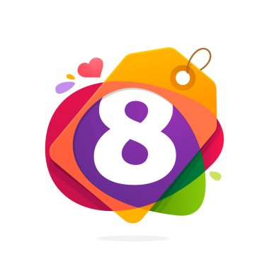 Number eight logo in Sale tag, heart and splashes.