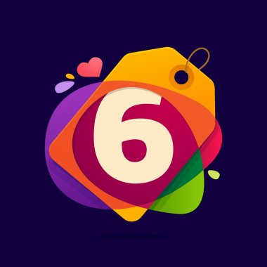 Number six logo in Sale tag, heart and splashes.