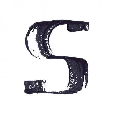 Letter S logo hand drawn with dry brush.