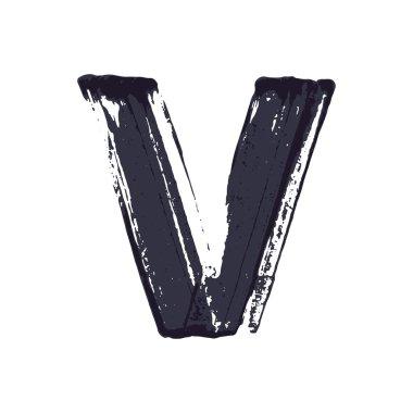 Letter V logo hand drawn with dry brush.