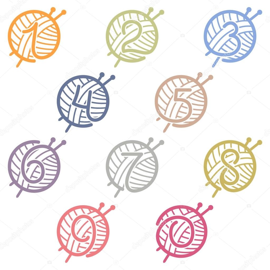 Numbers set logos with skein of yarn and knitting needles.