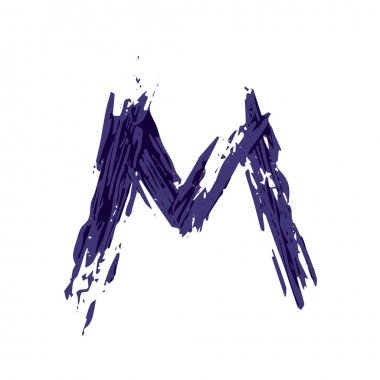 Letter M logo hand drawn with dry brush.