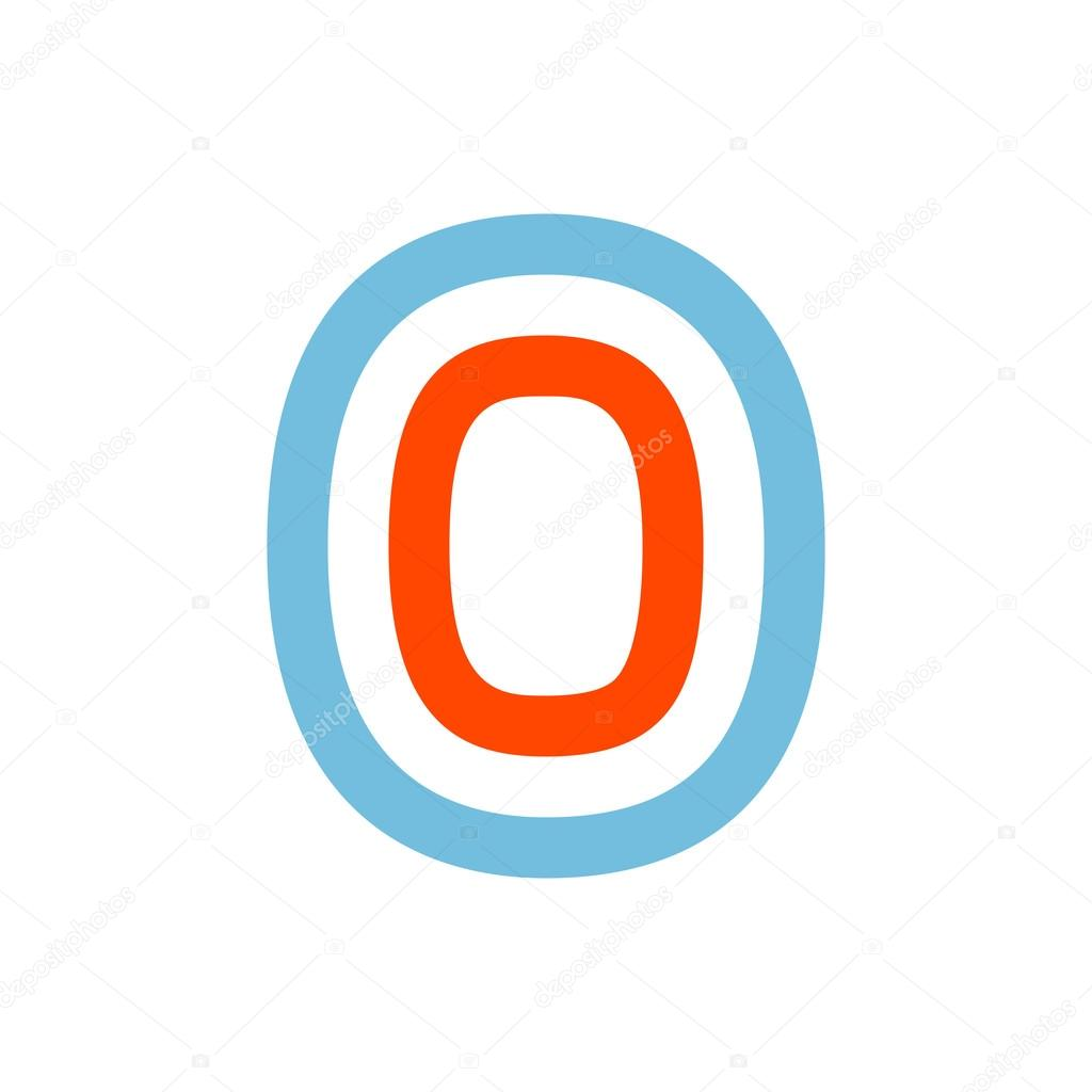 Number Zero Logo Formed By Parallel Lines Stock Vector