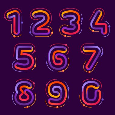 Numbers set logos with atoms orbits.