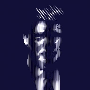 January 16, 2015: Portrait of Donald Trump. Line vector illustra