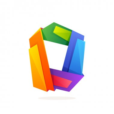 Letter O logo in low poly style.