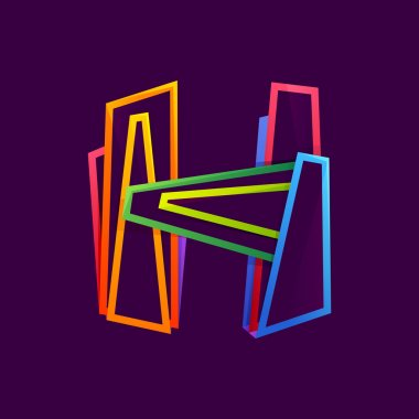 Letter H logo formed by colorful neon lines.