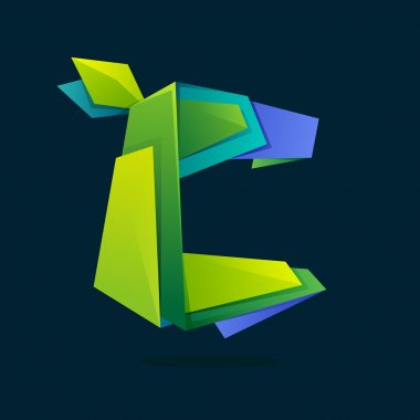 Letter C logo in low poly style with green leaves.