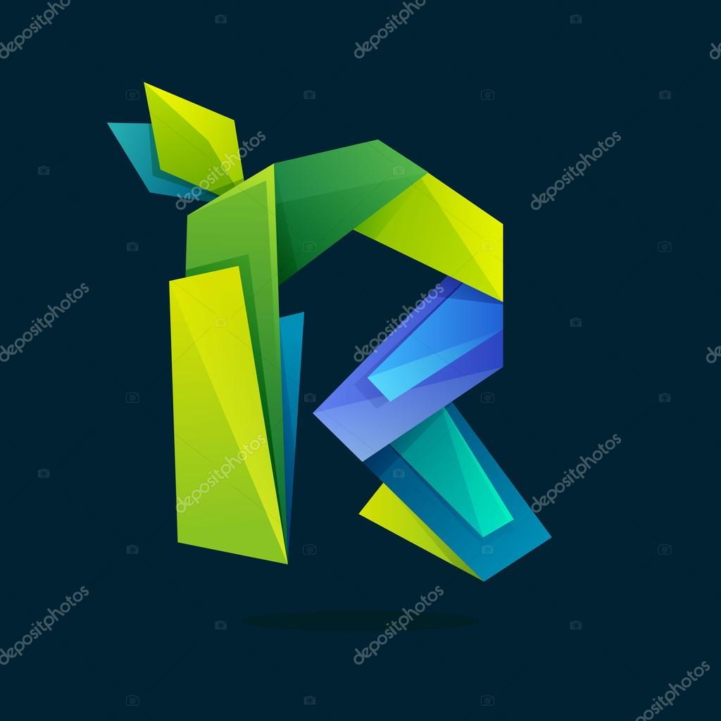 Letter R logo in low poly style with green leaves.