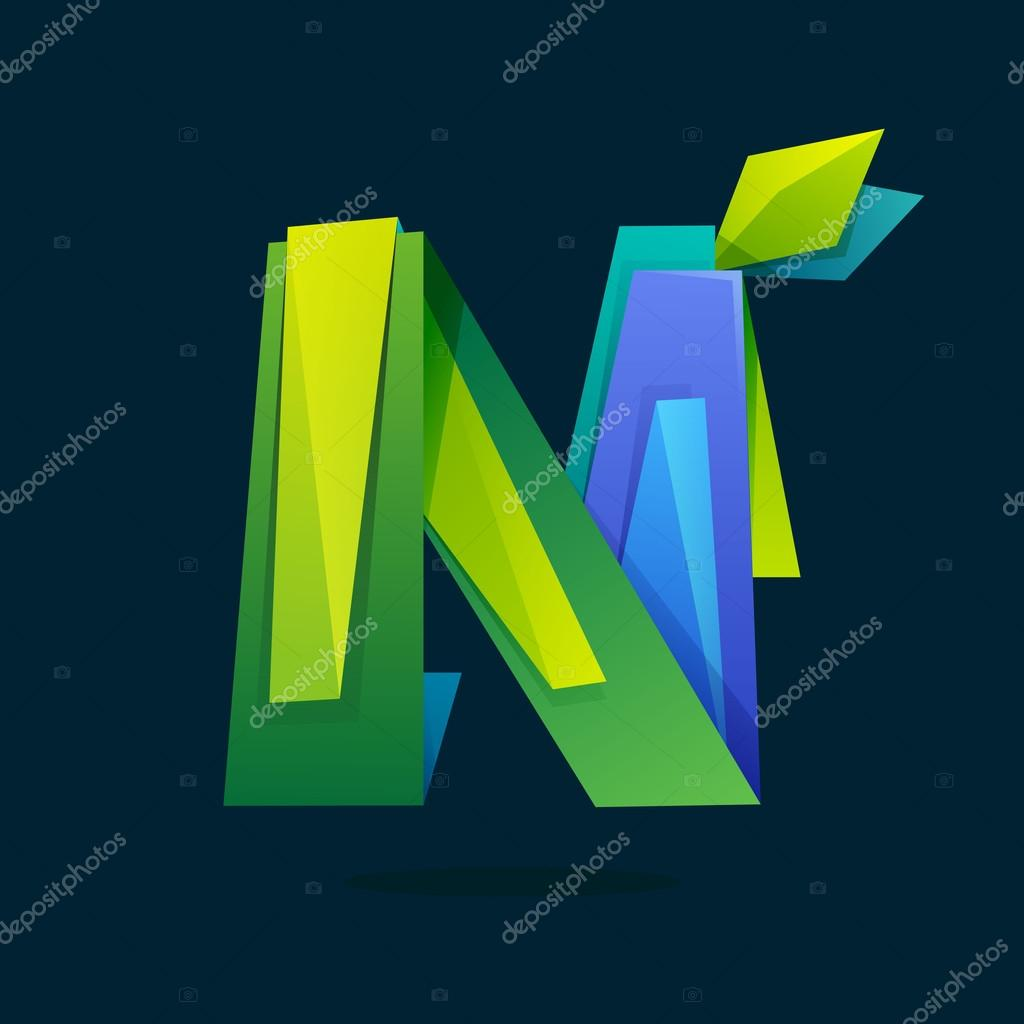 Letter N logo in low poly style with green leaves.