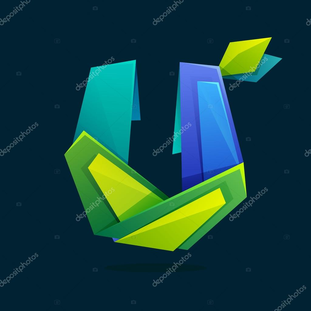 Letter U logo in low poly style with green leaves.