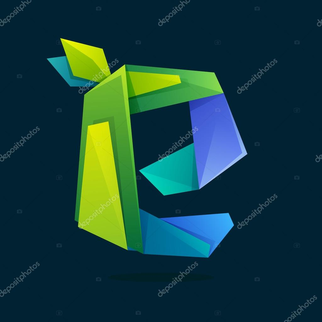 Letter E logo in low poly style with green leaves.