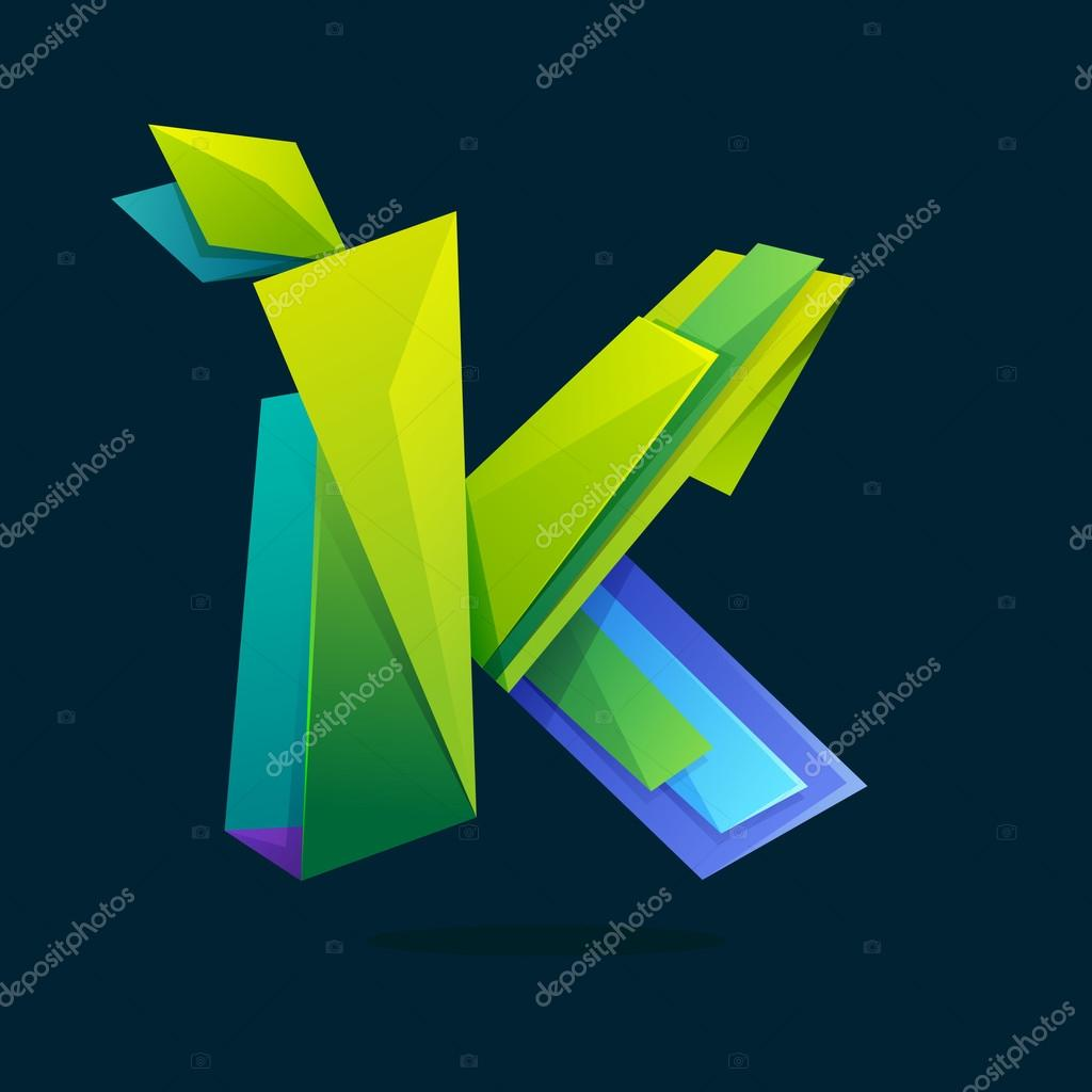 Letter K logo in low poly style with green leaves.