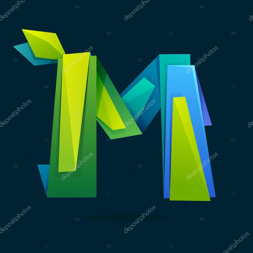 Letter M logo in low poly style with green leaves.