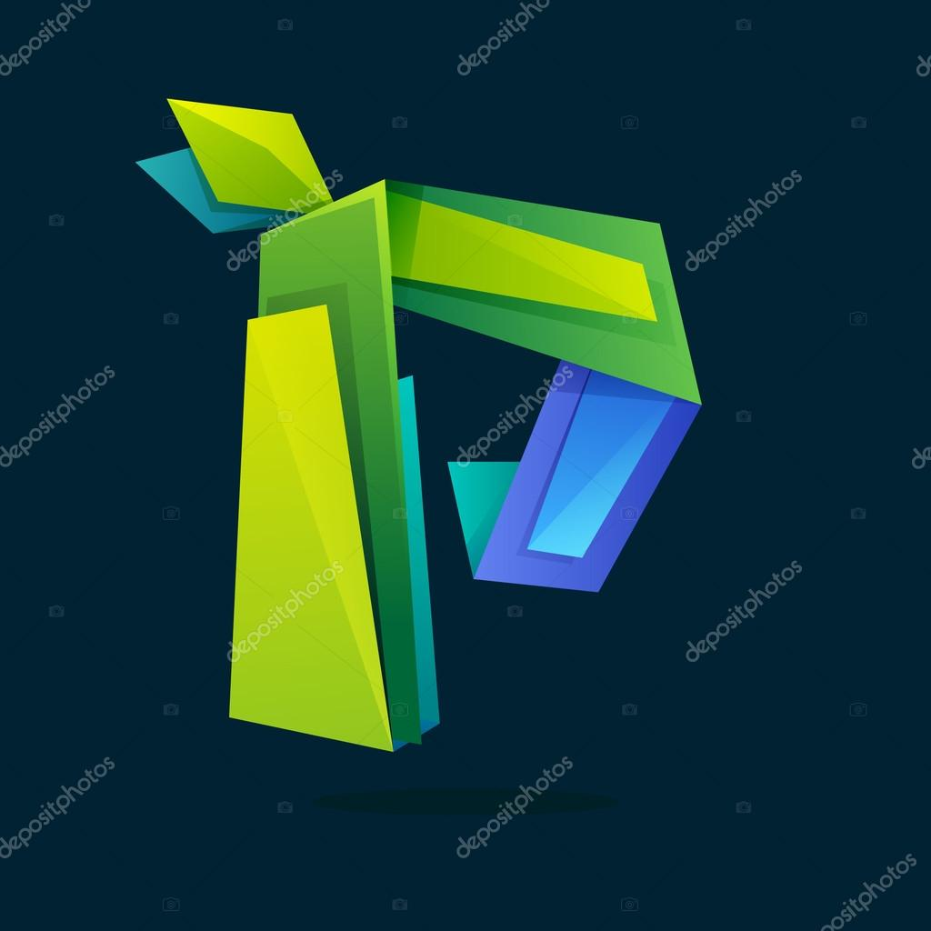 Letter P logo in low poly style with green leaves.