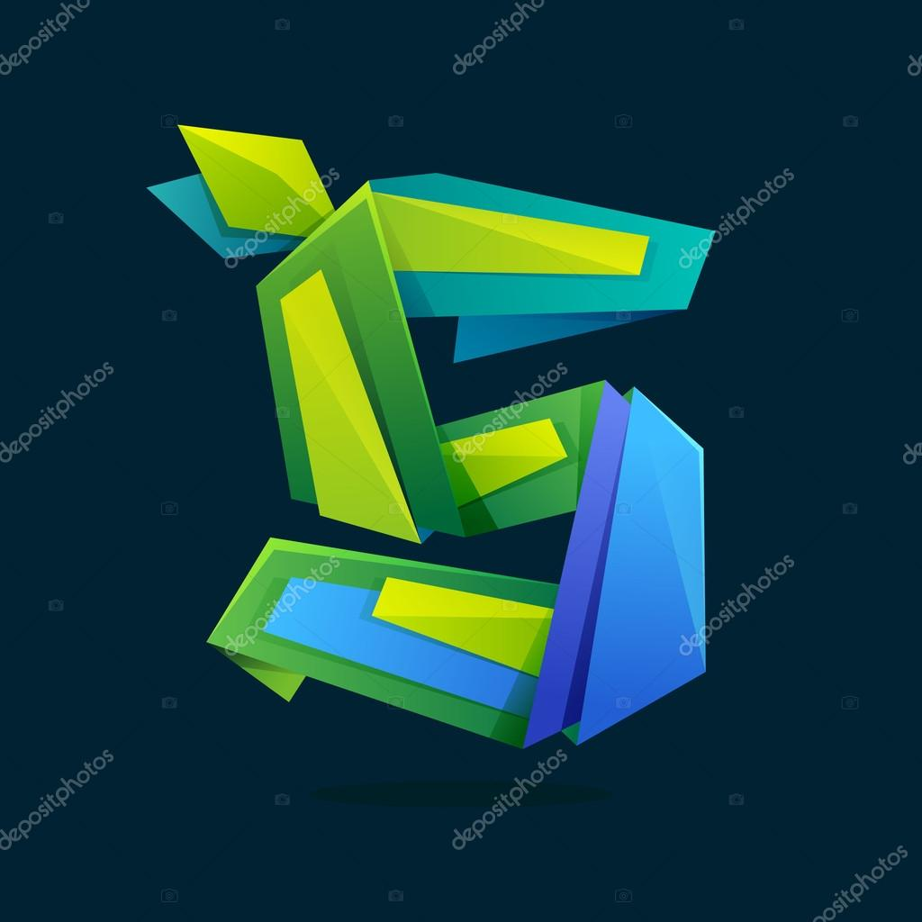 Letter S logo in low poly style with green leaves.