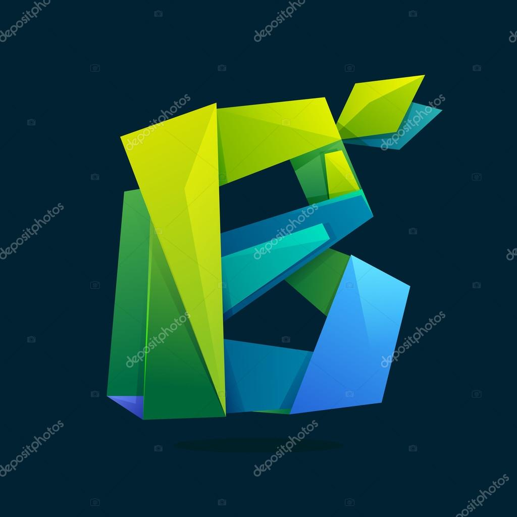 Letter B logo in low poly style with green leaves.