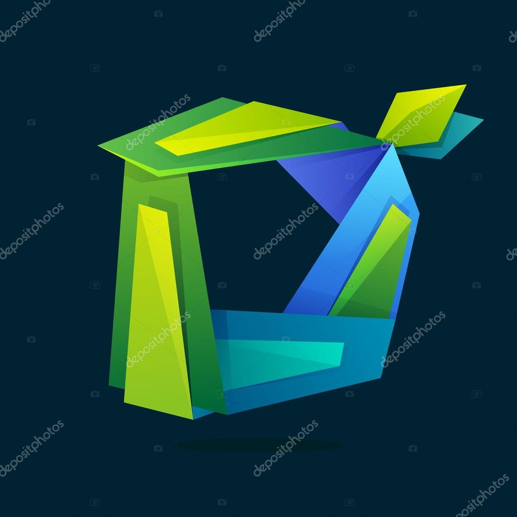 Letter D logo in low poly style with green leaves.