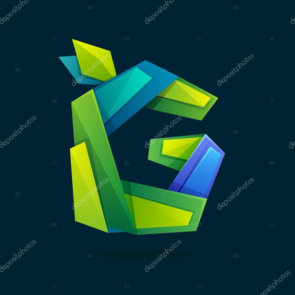 Letter G logo in low poly style with green leaves.