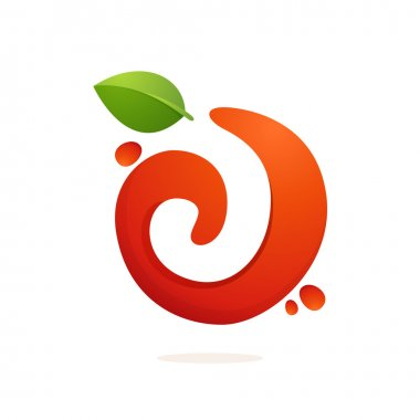 Letter J logo in fresh juice splash with green leaves.