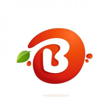 Letter B logo in fresh juice splash with green leaves.