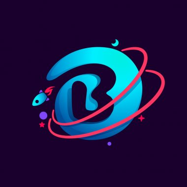 Letter B logo with planet, rocket and orbits lines.