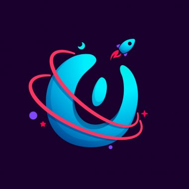 Letter O logo with planet, rocket and orbits lines.