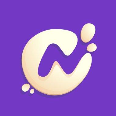 Letter N logo in milk, yogurt or cream splashes.