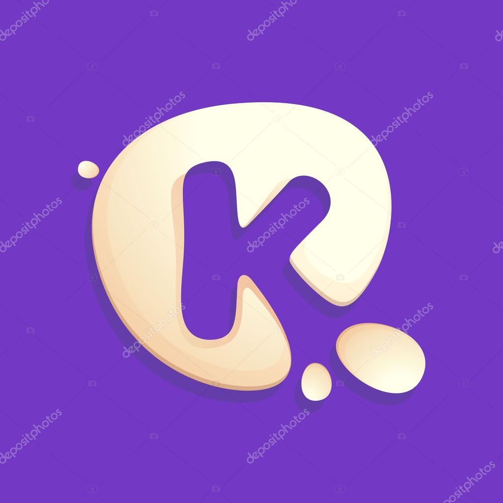 Letter K logo in milk, yogurt or cream splashes.