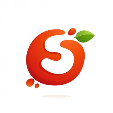 Letter S logo in fresh juice splash with green leaves.