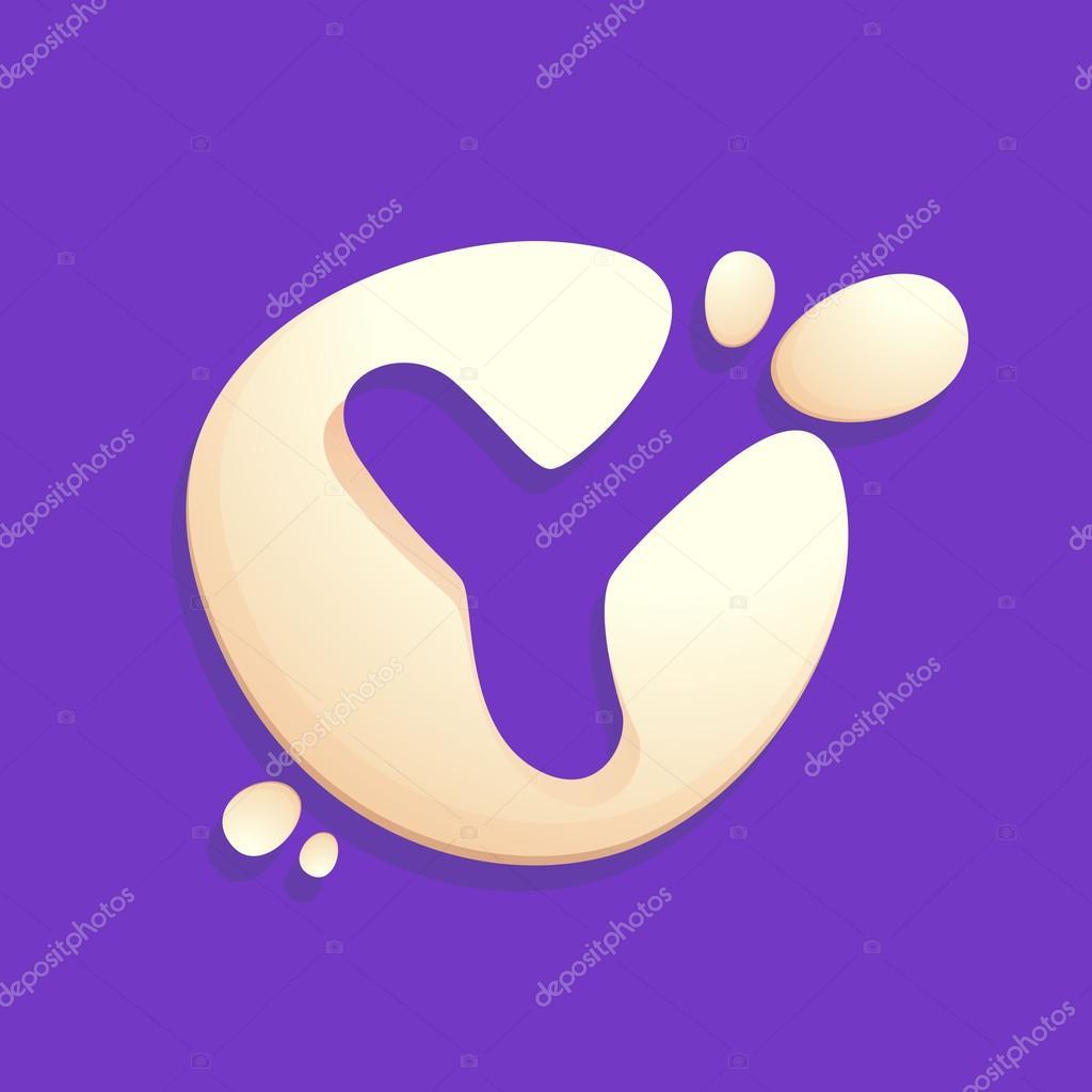 Letter Y logo in milk, yogurt or cream splashes.