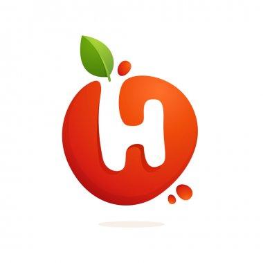 Letter H logo in fresh juice splash with green leaves.