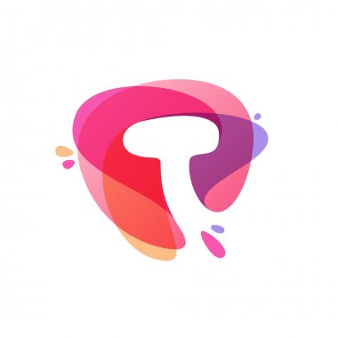 Letter T logo at colorful watercolor splash background.