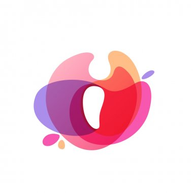 Letter I logo at colorful watercolor splash background.