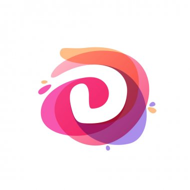 Letter D logo at colorful watercolor splash background.