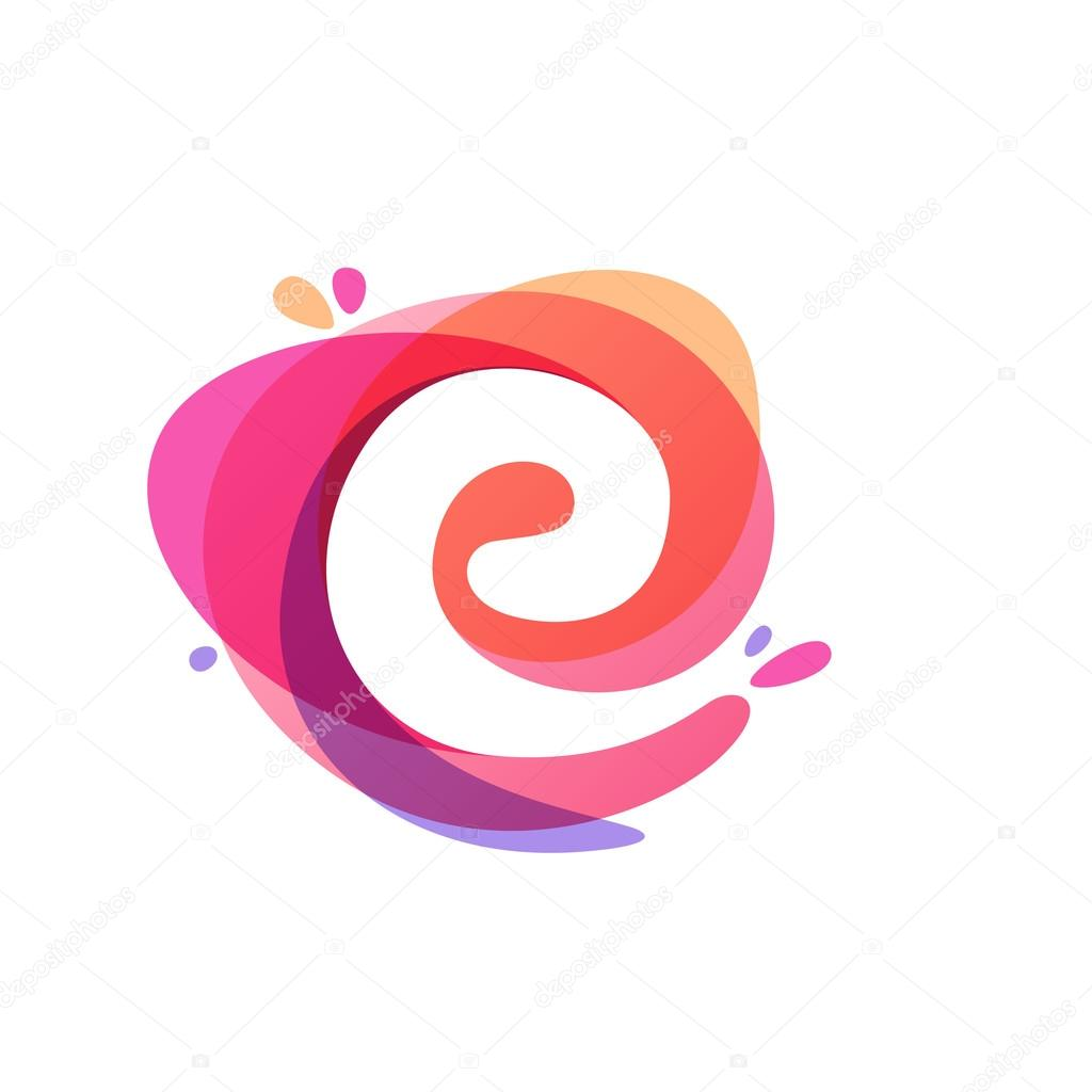 Letter E logo at colorful watercolor splash background.