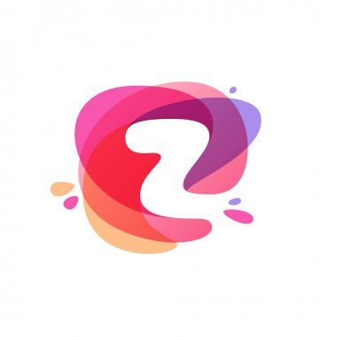 Letter Z logo at colorful watercolor splash background.