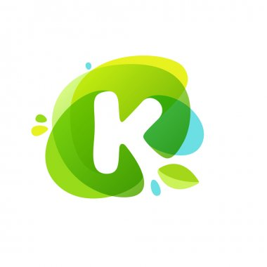 Letter K logo at green watercolor splash background.