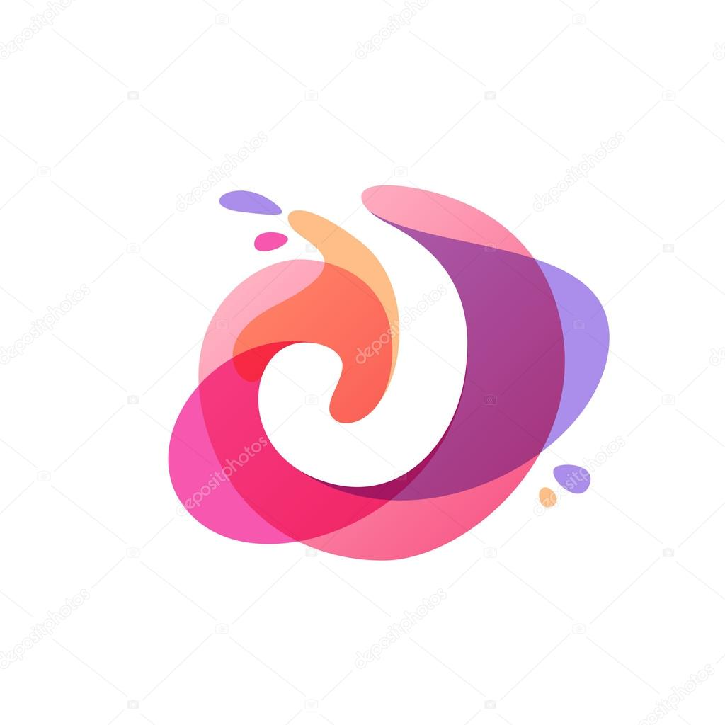Letter J logo at colorful watercolor splash background. — Stock ...