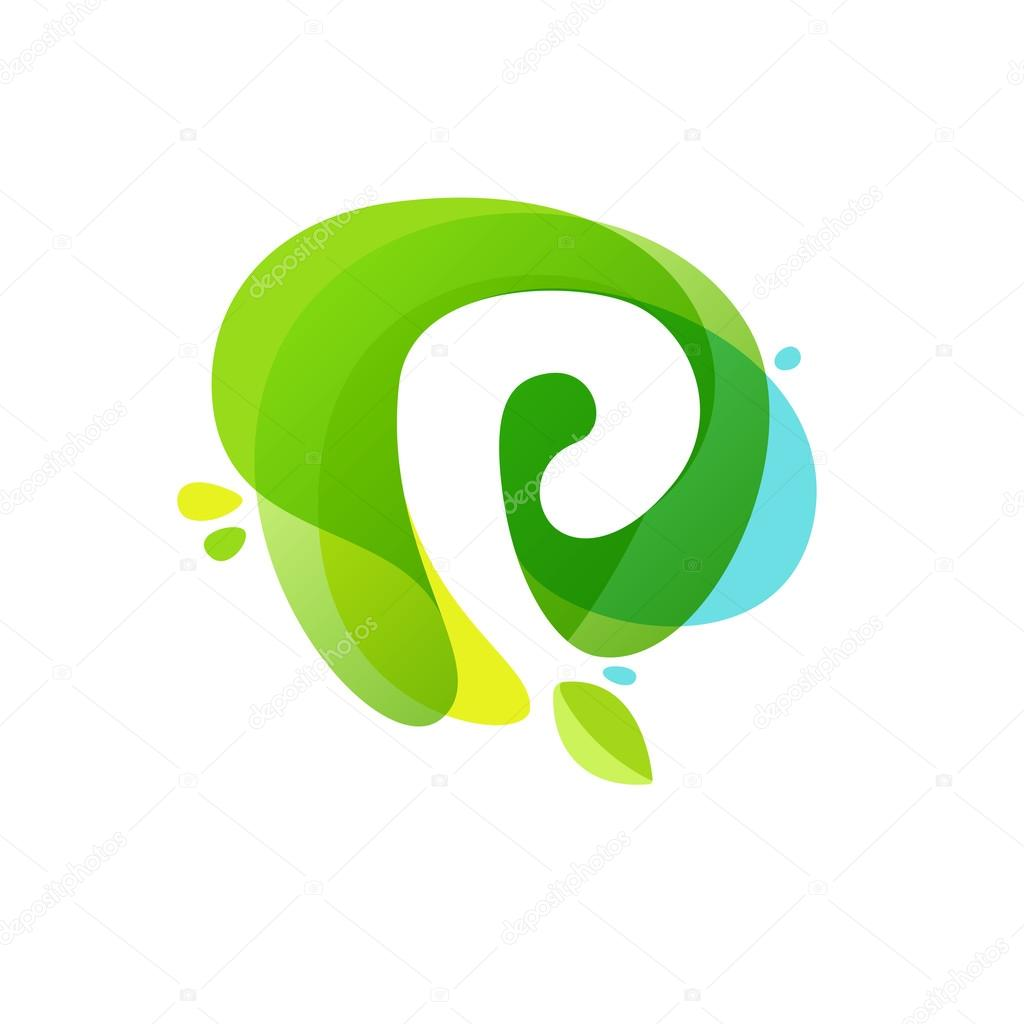 Letter P logo at green watercolor splash background.