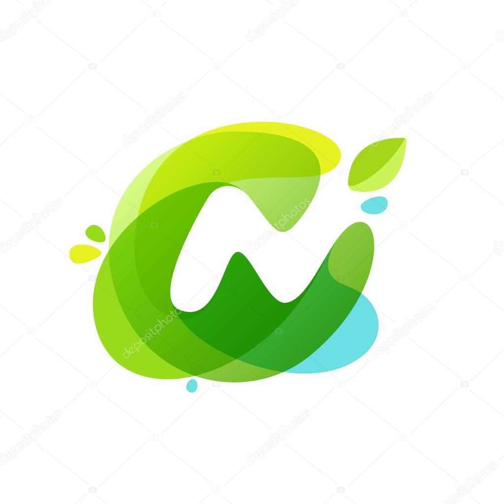 Letter N logo at green watercolor splash background.