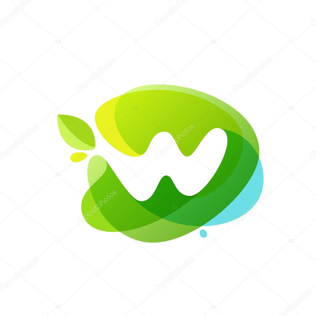 Letter W logo at green watercolor splash background.